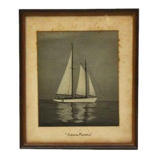 Vintage Framed Sail Boat Photo