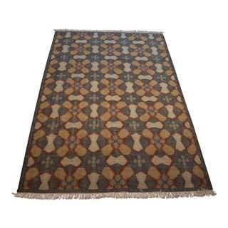 Dhurrie Flower Patterned Fringed Handmade Wool Rug - 5′ × 8′