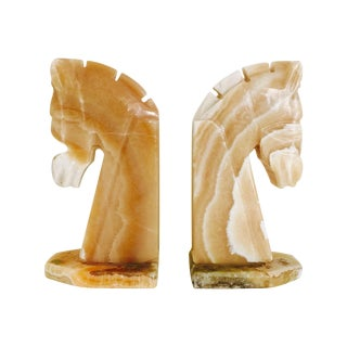 Handmade Mexican Onyx Horse Bookends - A Pair