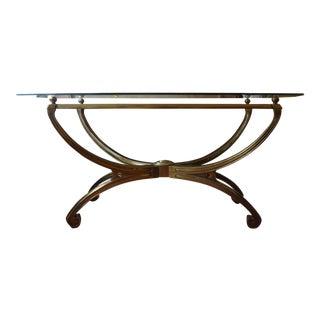 Italian Greek Key Design Glass Top Brass Console Table