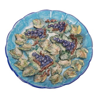Enormous hand made glazed terra cotta platter of grapes from Italy