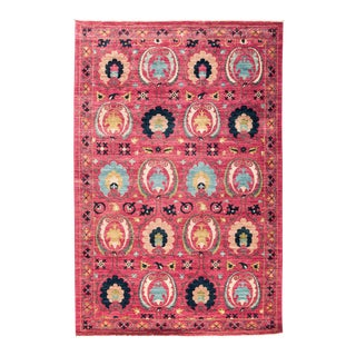 """Suzani Style Pink Hand-Knotted Rug- 5' 3"""" x 7' 10"""""""