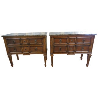 Ethan Allen Marble Top Commodes - A Pair