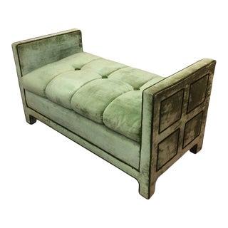 Light Green Velvet Settee Bench