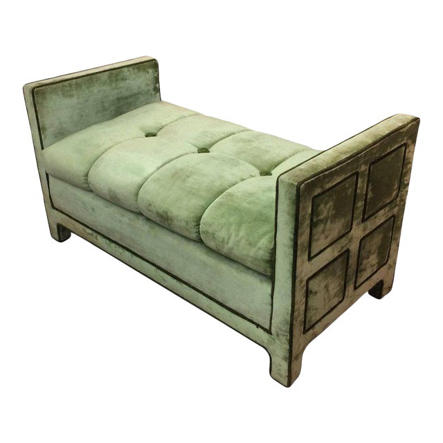 Light Green Velvet Settee Bench - Image 1 of 10