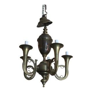 Vintage Solid Brass Horn Chandelier