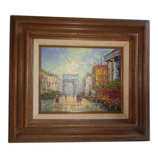 Vintage P.G. Tiele Signed Paris Arc d'Triomphe Oil Painting