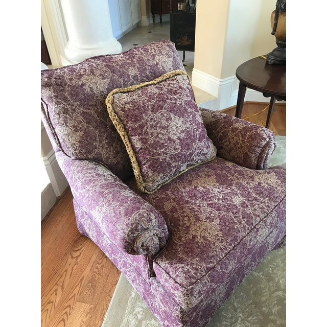 Ethan Allen Mr Chair Burgundy And Gold Floral Club Chair