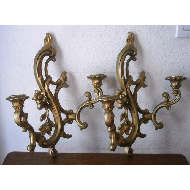 Midcentury Gold Candle Sconces - A Pair - Image 3 of 6