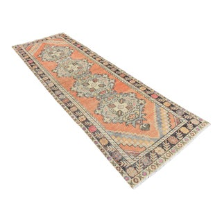 Muted Antique Handwoven Pastel Orange Oushak Runner - 3′ × 9′9″