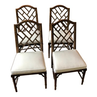 Century Furniture Chinese Chippendale Faux Bamboo Dining Chairs - Set of 4