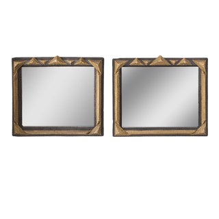 Gold and Black Tramp Art Mirrors - A Pair