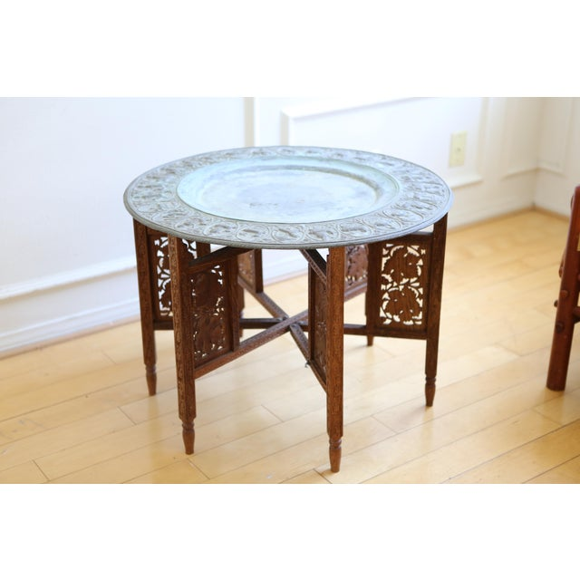 Moroccan tray accent table chairish for Table 52 prices