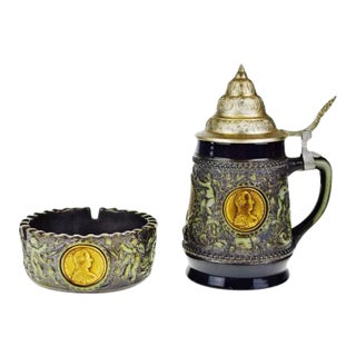 German Lidded Beer Stein & Matching Ashtray - A Pair