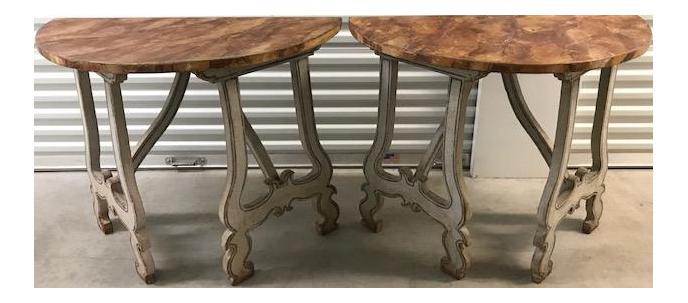 Italian Demilune Tables   A Pair
