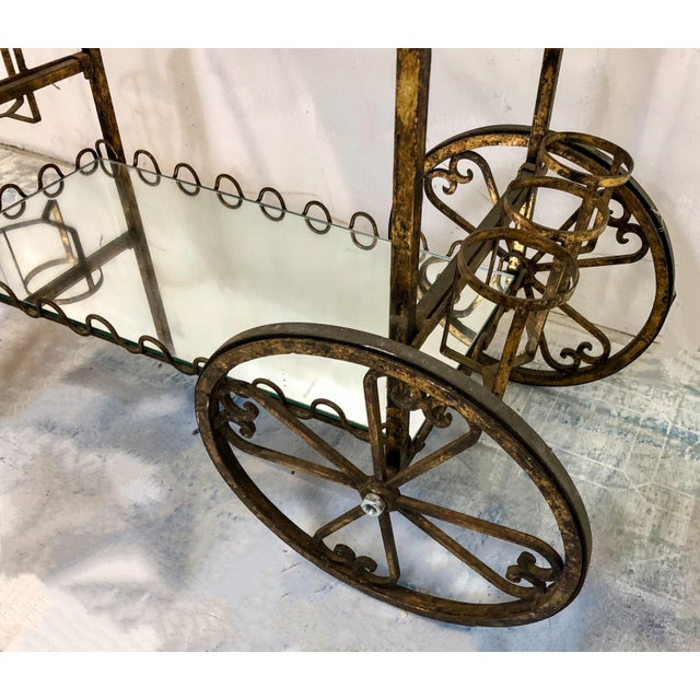 Hollywood Regency Italian Gilt Metal Bar Cart - Image 4 of 6