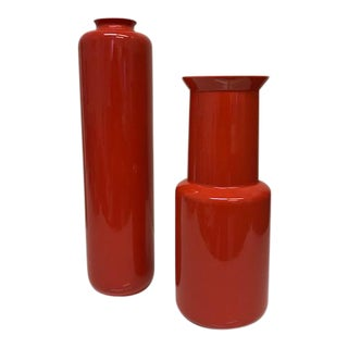 Red Vases - A Pair
