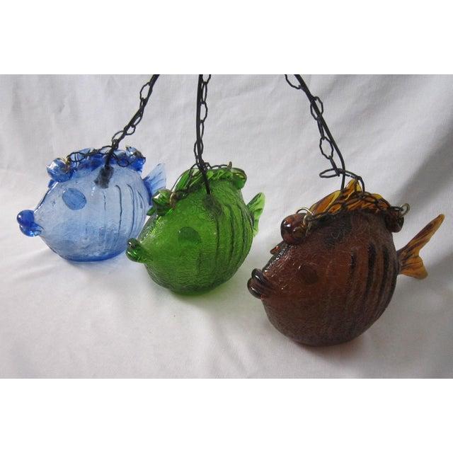 Image of Blenko Glass Pendant Lights - Set of 3