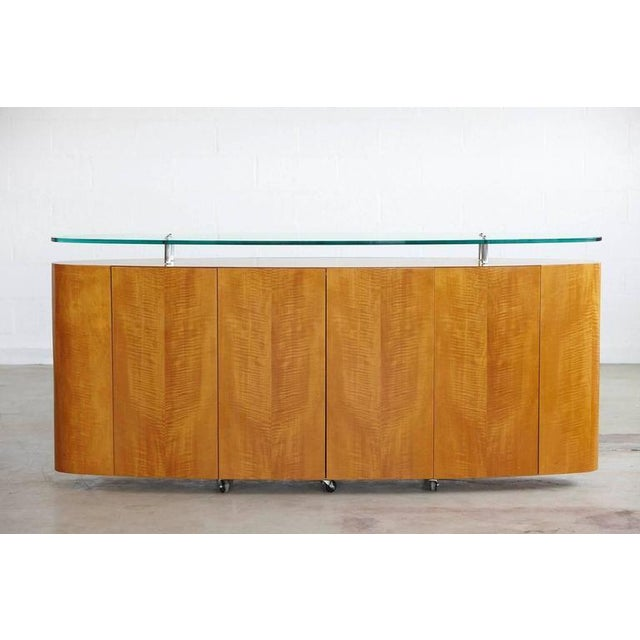 Custom-Made Oval Sideboard on Casters with Glass Top - Image 6 of 8 - Sophisticated Custom-Made Oval Sideboard On Casters With Glass Top