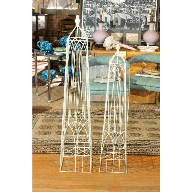 Image of White Garden Obelisks - A Pair