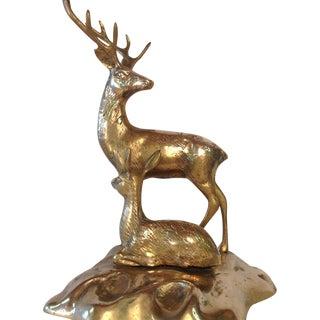 Brass Deer and Fawn Sculpture