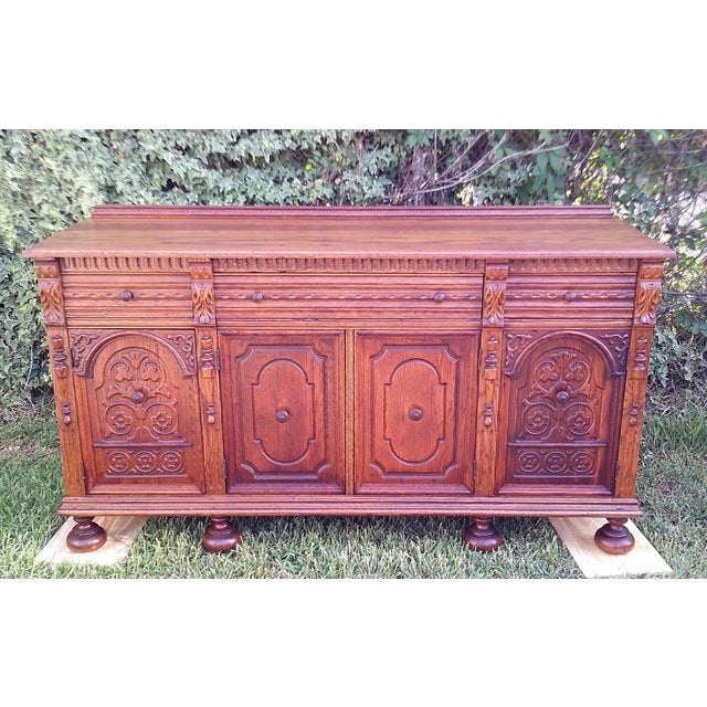 Oak Jacobean Server - Image 2 of 9