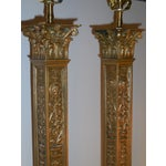 Image of Antique Bronze Ornate Table Lamps - Pair