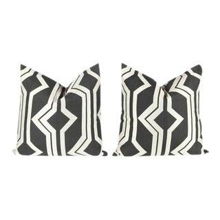 Charcoal Geometric Pattern Pillows - A Pair