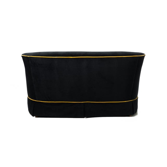 Image of Gatsby Black & Gold Velvet Sofa