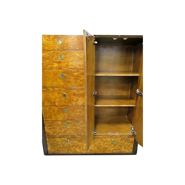 Image of Vintage Art Deco Burlwood Tall Chest by Century