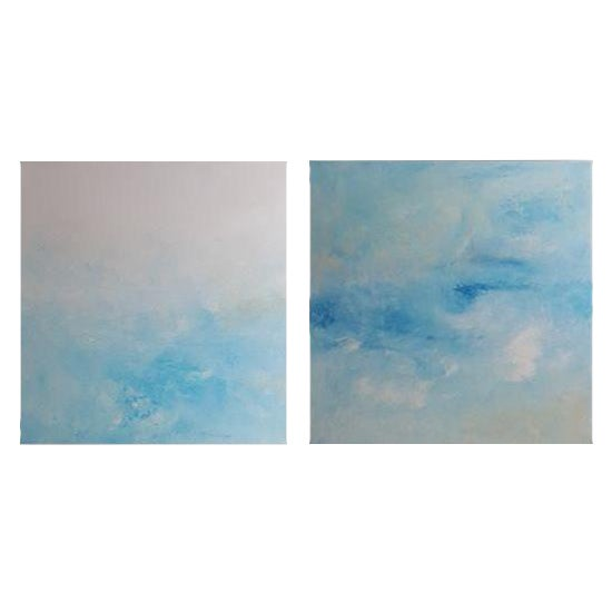 """Breeze"" Original Abstract Diptych - A Pair - Image 1 of 3"