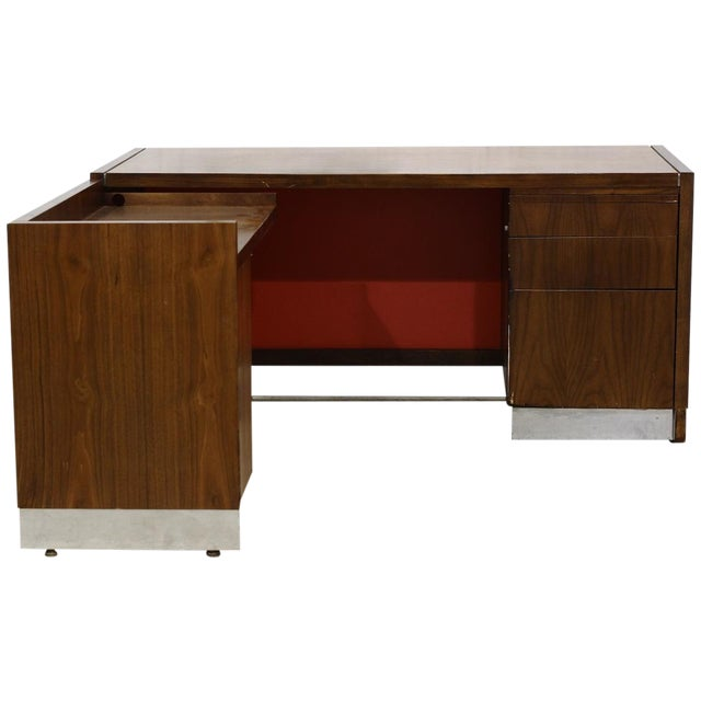 Image of Return and Modesty Panel Wood & Chrome Desk