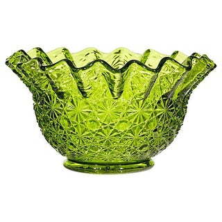 1960s Verde Textured Glass Bowl