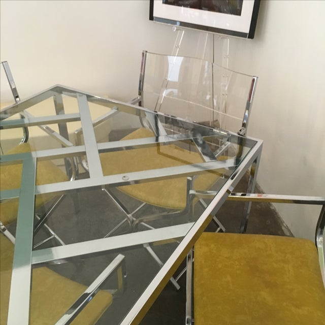 Chrome and Glass Game and or Dining Table and Four Chrome and Lucite Armchairs - Image 9 of 11