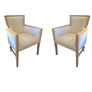 Helen Art Deco Cream Vinyl Armchairs - Pair