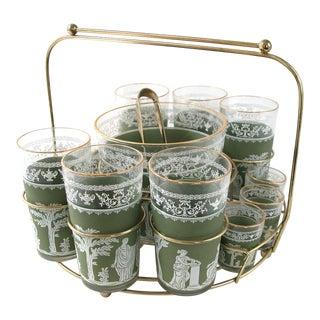 Jeannette Mid-Century Hellenic Jasperware Cocktail Glass Set