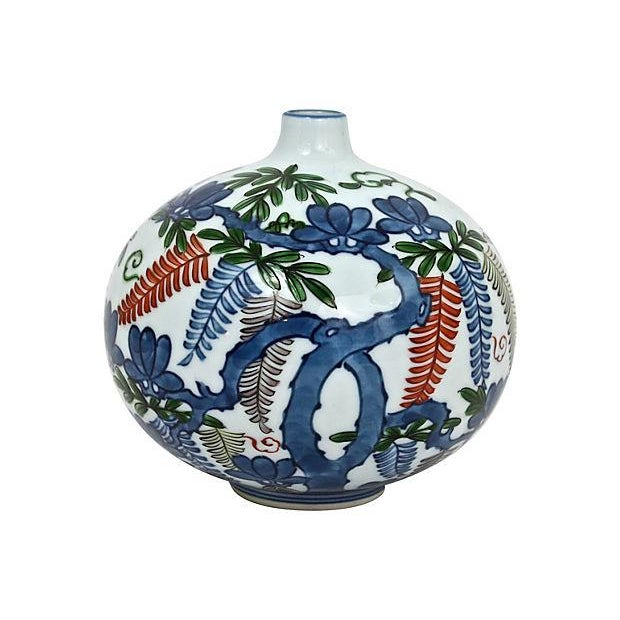 Asian Hand-Painted Orb Bud Vase - Image 5 of 7