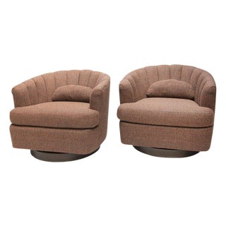 Channel Back Swivel Chairs - A Pair