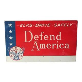 """Vintage Sign, """"Defend America"""""""