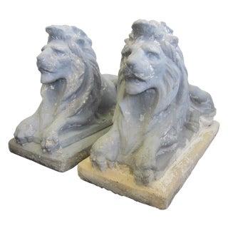 Antique Cast Stone Recumbent Garden Lions - A Pair