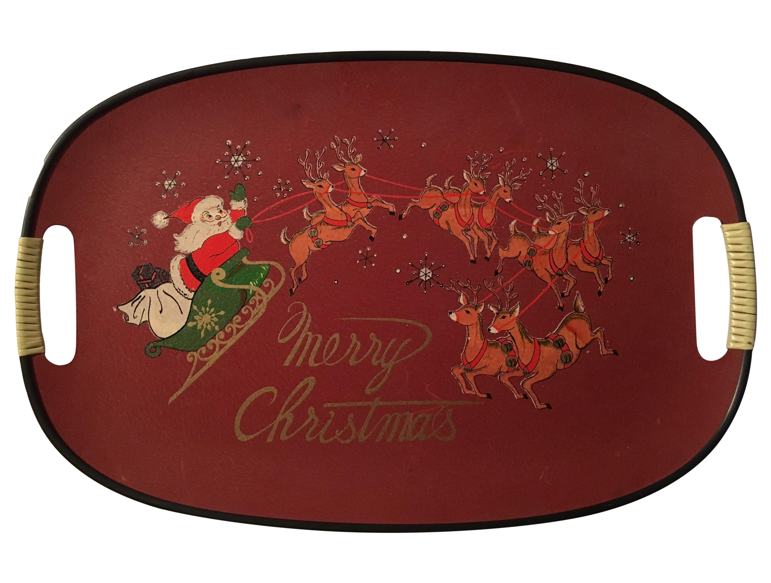 Mid-Century Wrapped Handles Christmas Tray