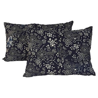 Indigo Batik Foo Dog Pillows - Pair