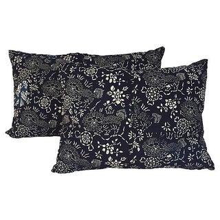 Indigo Batik Foo Dog Pillows - Pair