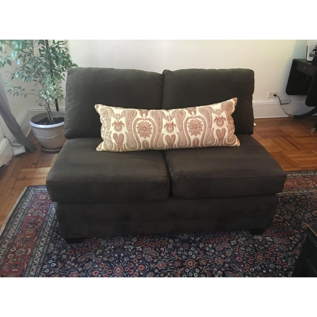 Crate & Barrel Brown Loveseat - Image 5 of 6