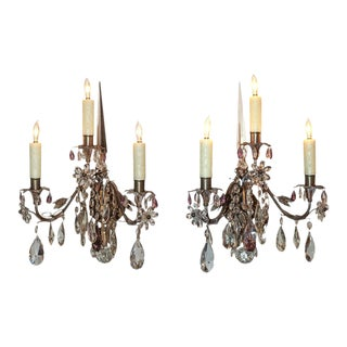 Pair of French Crystal 3-Light Wall Sconce