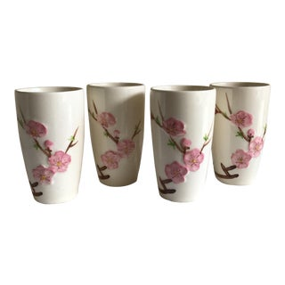 Vintage Asian Cherry Blossom Tumblers - Set of 4