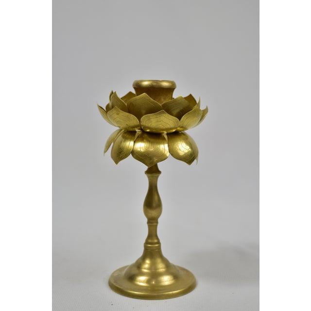 Vintage Feldman Brass Lotus Blossom Candlestick - Image 11 of 11