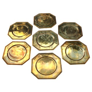 Vintage Solid Brass Hexagon Charger Plates - 6