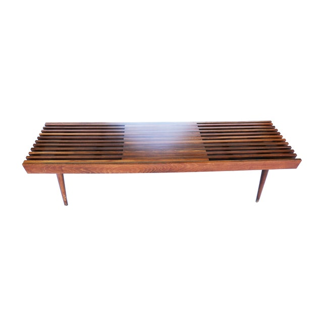 Nelson Herman Miller Style Slatted Wood Bench - Image 6 of 7