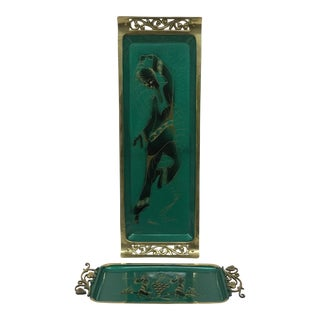 Vintage Green Enamel & Brass Trays - A Pair